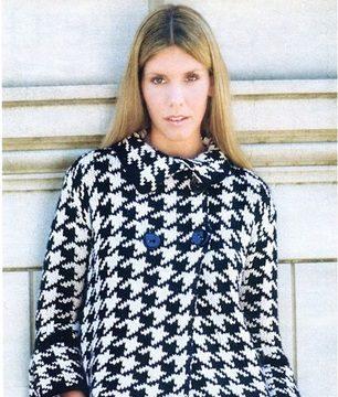 вязание спицами, жакет, ретро, черно белый, для женщин