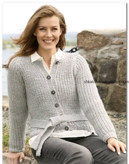 вязание спицами, жакет, поясок, английская резинка, для женщин, описание