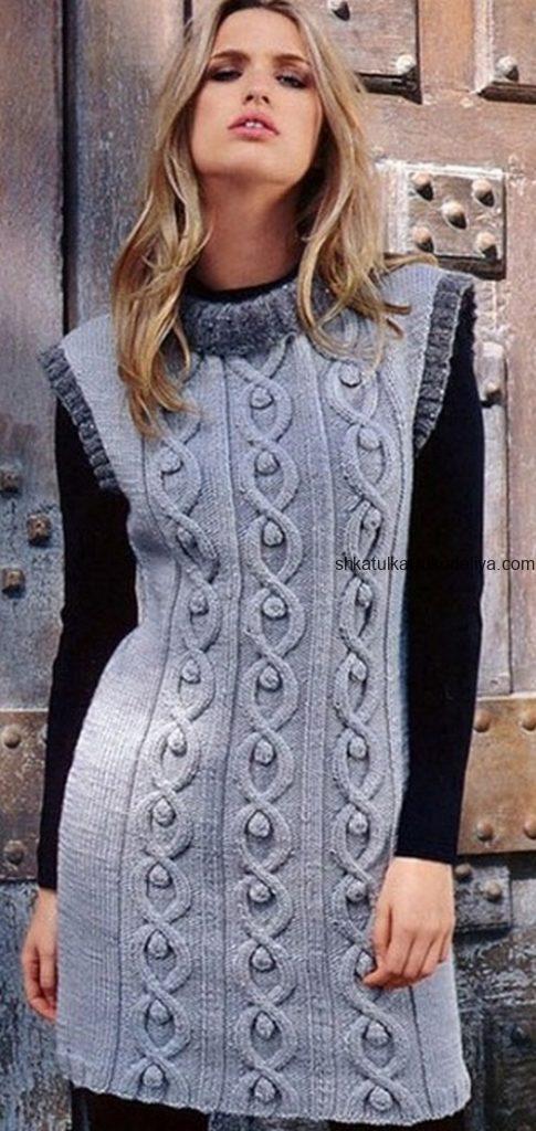 вязание спицами, туника, для женщин, без рукавов, вертикальный узор, схема, описание