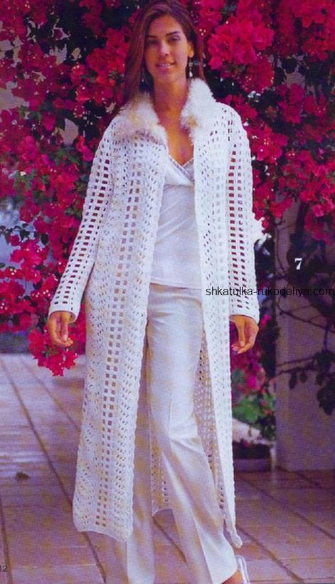 вязание крючком, жакет, длинный, белый, для женщин, схема