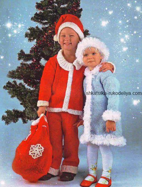 вязание спицами, костюми, новый год, дед мороз, снегурочка, описание
