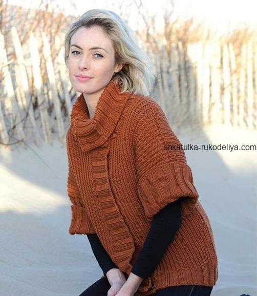 вязание спицами, жакет, для женщин, короткий рукав, описание, теплый