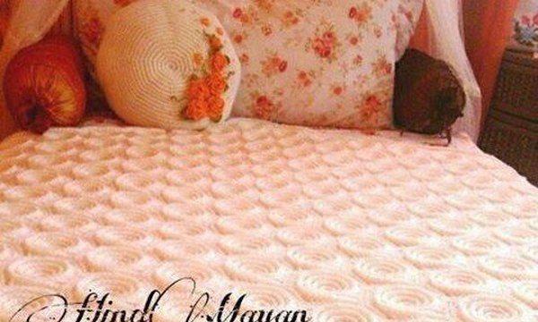 вязание крючком, плед, розовый, для дома, схема