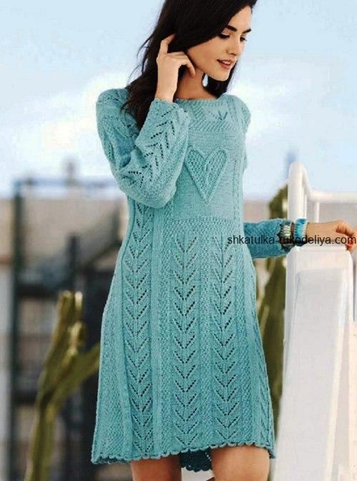 вязание спицами, платье, длинный рукав, для женщин