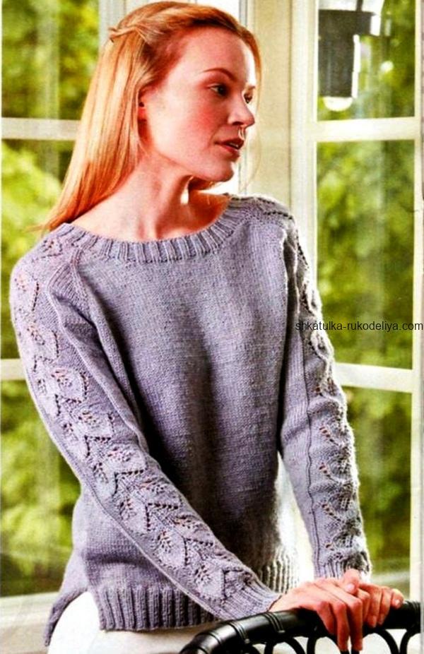 вязание спицами, пуловер, ажурные рукава, схема, описание