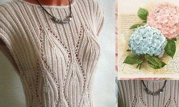 вязание спицами, безрукавка, схема, серая, для женщин