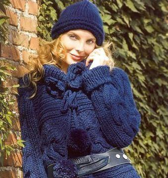 вязание спицами, пальто, синее, узор коса, описание, для женщин