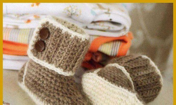 вязание крючком, сапожки, уютные, описание, для малыша