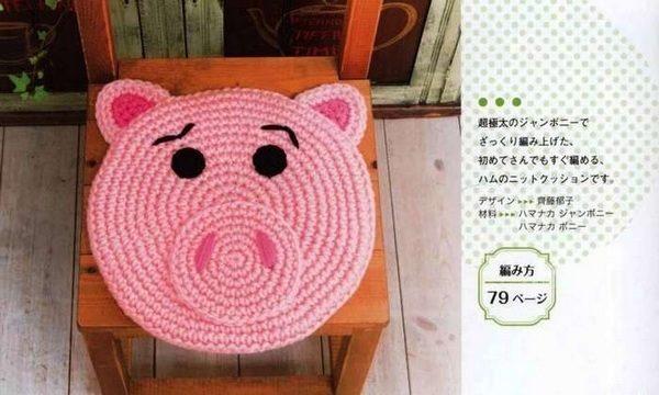 вязание крючком, коврик, свинка, схема