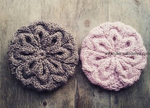 вязание спицами, берет, для женщин, розовый снег, мастер класс
