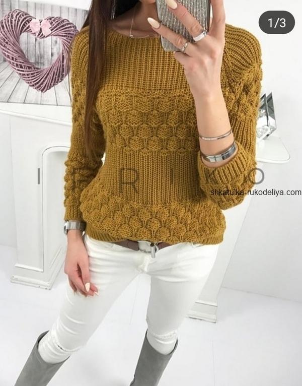 вязание спицами, пуловер, для женщин, схема, узор ягодка малинка, круглая кокетка
