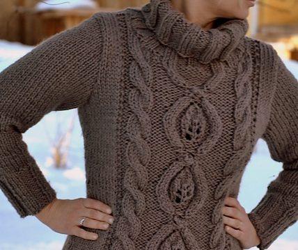 вязание спицами,свитер, для женщин, большой воротник, косы, длинный, схема, описание