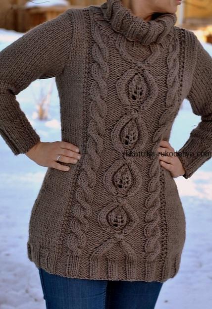 свитер с большим воротником спицами теплый женский длинный свитер