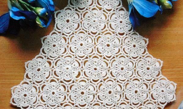вязание спицами, салфетка, цветочные мотивы, схема, на стол, для дома