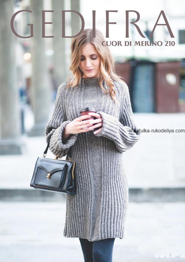 вязание спицами, платье, серое, короткое, теплое, для женщин, описание