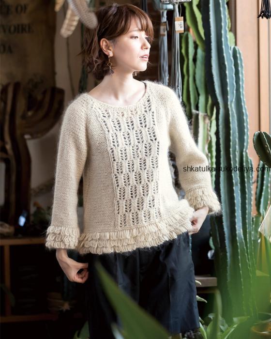 вязание спицами, пуловер, ажурная вставка, вытянутые петли, схема, для женщин