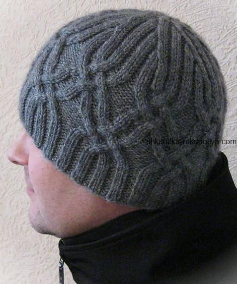 вязание спицами, шапочка, мужская, схема, описание, зимняя, араны