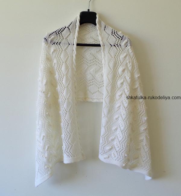 вязание спицами, палантин, ажурный, узор ромб, схема, для женщин