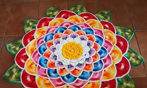 вязание крючком, коврик, для дома, яркий, мастер класс, видео, цветок