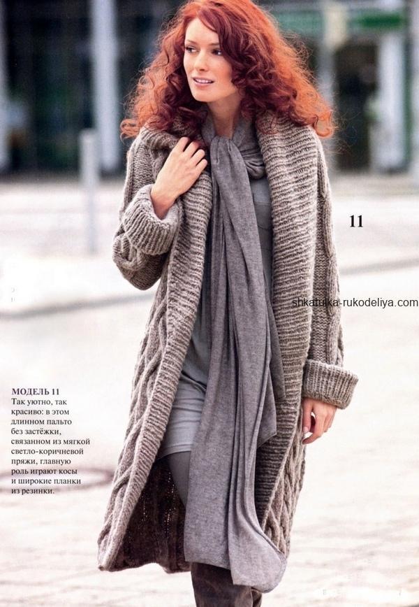 вязание спицами, пальто, для женщин, без застежки, широкая планка, схема, описание