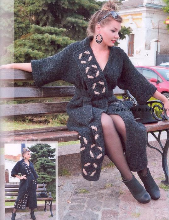 вязание крючком, пальто, длинное, схема, описание, для женщин, поясок, мотивы