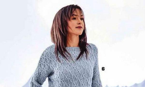вязание спицами, пуловер, для женщин, меланжевая пряжа, голубой, схема, описание, красивый