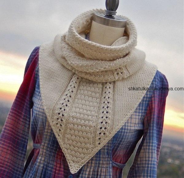вязание спицами, снуд, заостренный край, для женщин, схема, описание