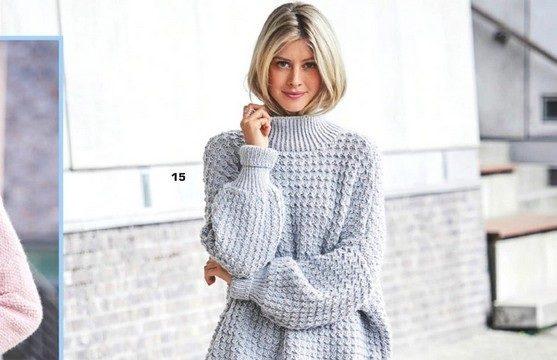 вязание спицами, пуловер, оверсайз, описание, свободный, голубой, мягкий