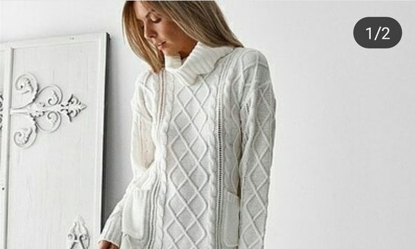 вязание спицами, платье-туника, схема, короткое, косы, для женщин, теплое