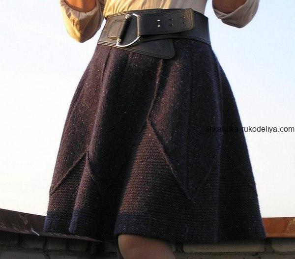 вязание спицами, юбка, короткая, зимняя, схема, описание, женская, расклешенная, модная