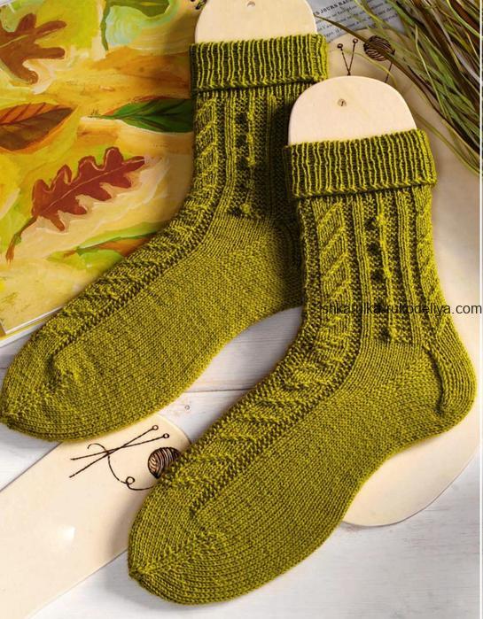 вязание спицами, носки, для женщин, схема, описание, узор шишечки, шерстяные