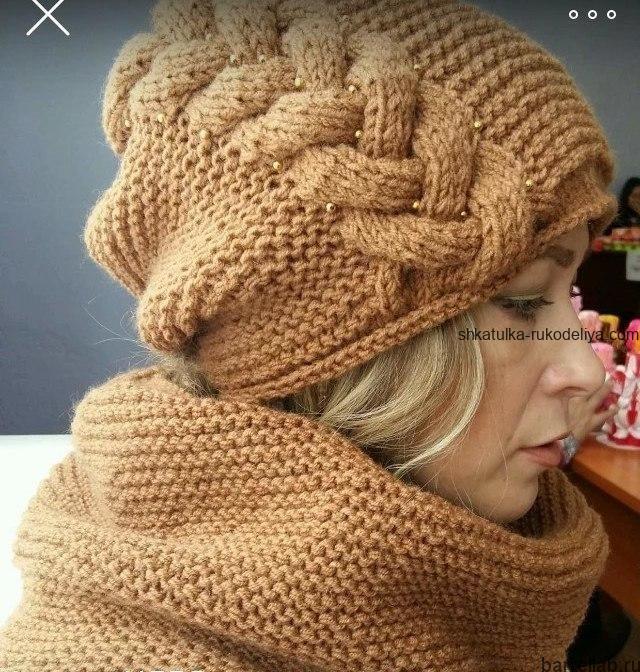 вязание спицами, шапка, жгуты, модная , женская, схема, теплая