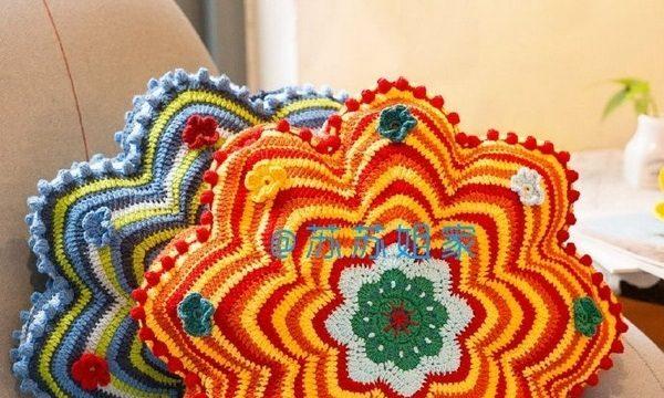 вязание крючком, подушка, схема, декоративная, яркая, цветок, для дома