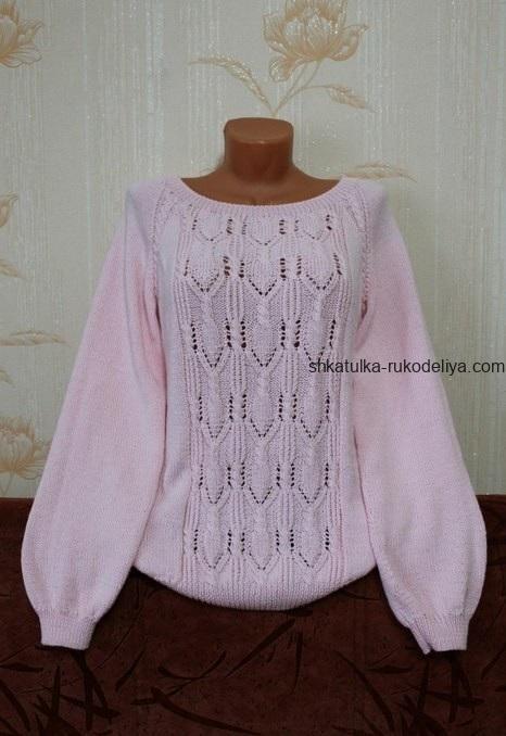 вязание спицами, кофточка, схема, описание, для женщин, красивый узор