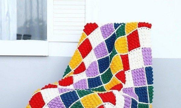вязание крючком, плед, мотивы, схема, для дома, цветной, узор попкорн