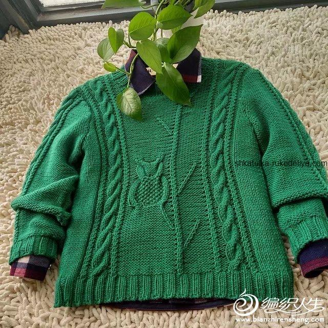 вязание спицами, свитер, схема, детский, узор сова, теплый