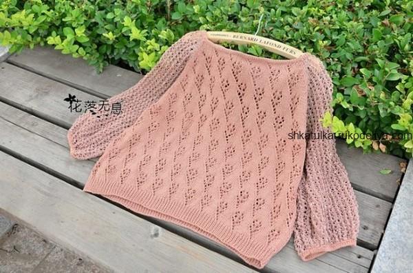 вязание спицами, кофточка, женская, схема, летняя, рукав сеточка, красивый узор