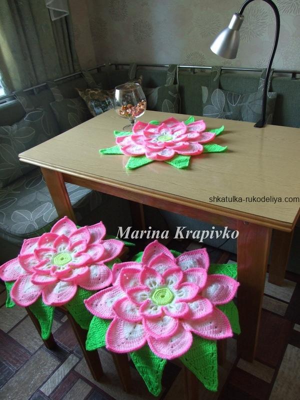 вязание крючком, салфетка, цветок, лотос, схема, для стульчика, для дома