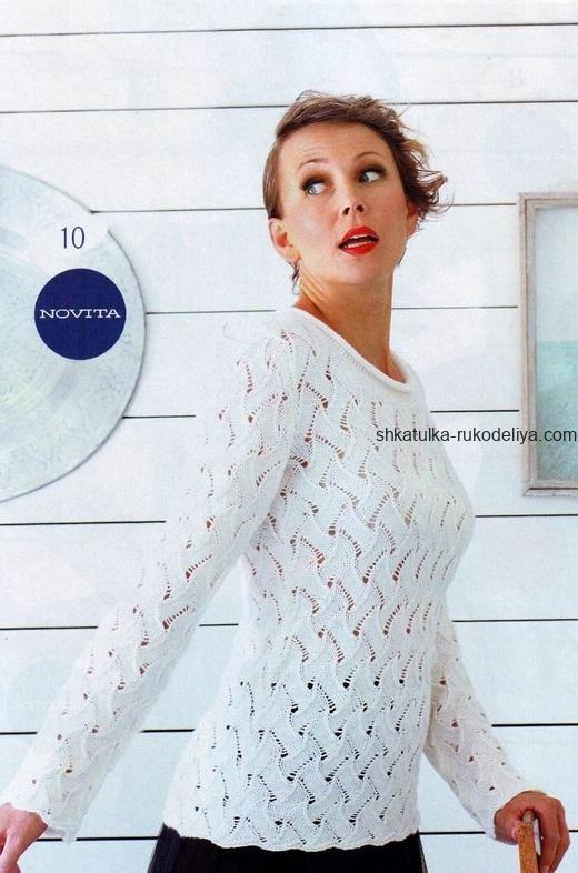 вязание спицами, пуловер, схема, описание, женский, узорчатый узор