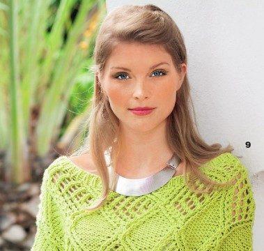 вязание спицами, пуловер, зеленый, узор ромб, для женщин, современный