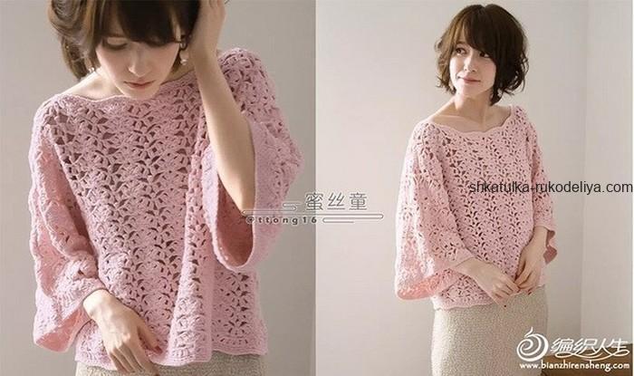 вязание крючком, блуза, свободная, схема, розовая, схема, летняя, для женщин