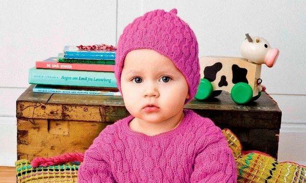 вязание спицами, свитер, детский, шапочка, схема, описание, розовый, осенний