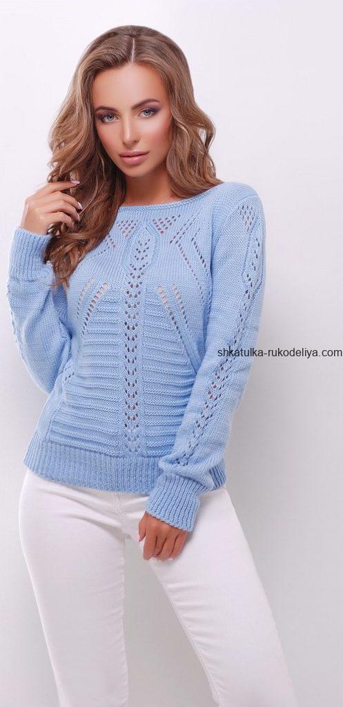 вязание спицами, свитер, интересным узором, схема, голубой, для женщин, стильный