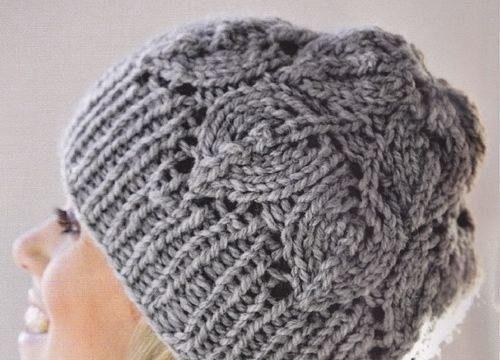 вязание спицами, шапка, узором листья, теплая, для женщин,описание