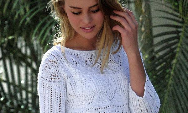 вязание спицами, платье, белое, для женщин, мини, схема, ажурный узор