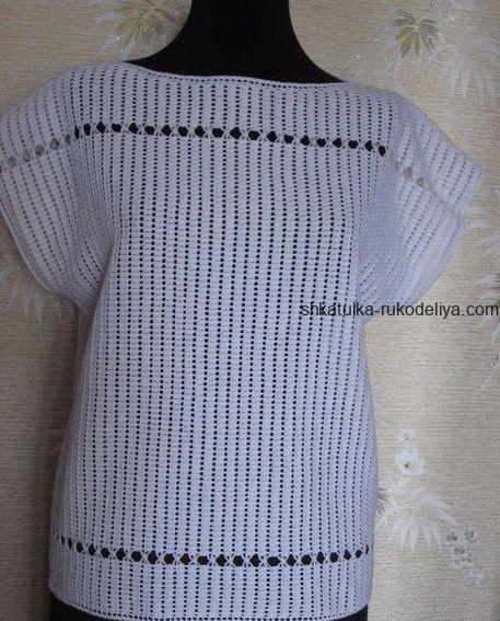 вязание крючком, топ, белый, ажурные узоры, женский, летний, схема
