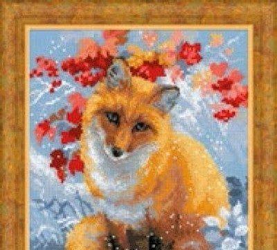 вышивка крестиком, лисичка, животные, схема, бесплатная, своими руками