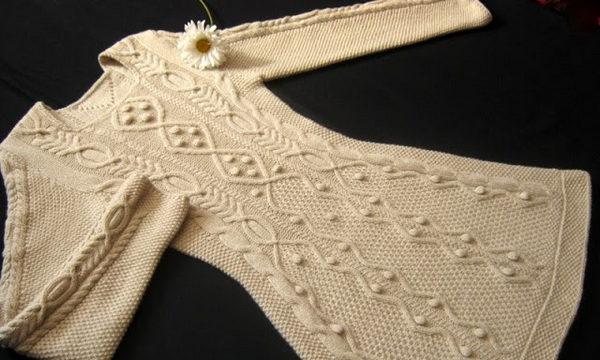 вязание спицами, платье, теплое, схема, описание, узорчатое, длинный рукав, женское