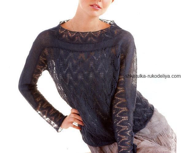 вязание спицами, пуловер, для женщин, летний, схема, описание, красивый узор