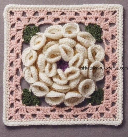 вязание крючком, мотив, цветочный, обьемный, для пледа, квадратный, схема